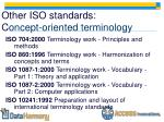 other iso standards c oncept oriented terminology