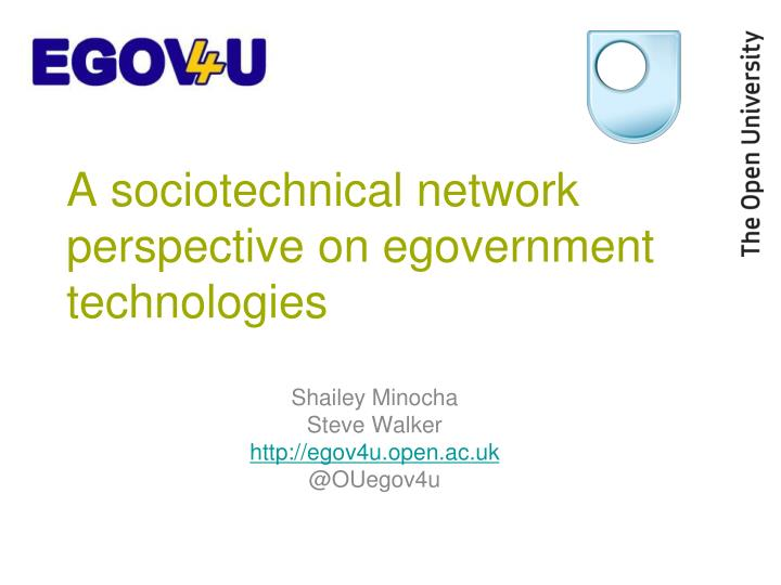 a sociotechnical network perspective on egovernment technologies n.