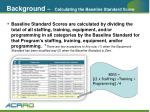 background calculating the baseline standard score