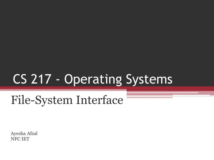 cs 217 operating systems