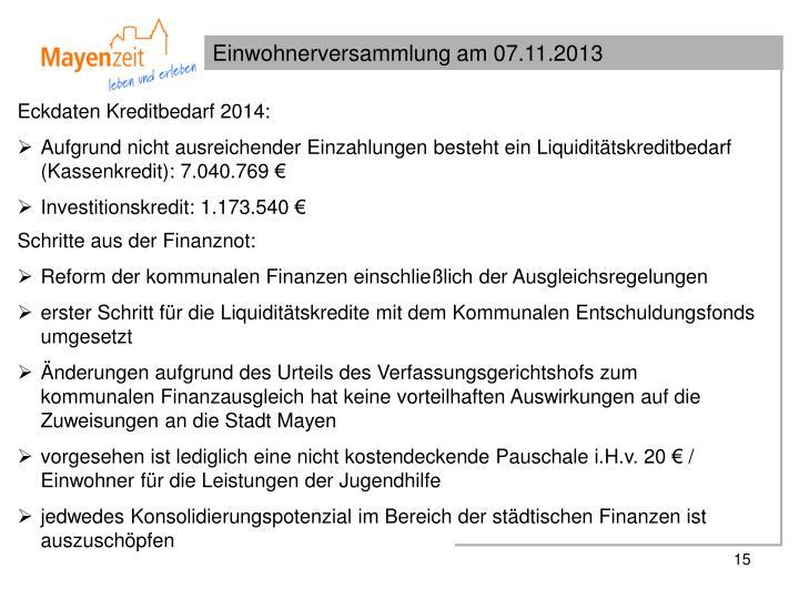 Eckdaten Kreditbedarf 2014: