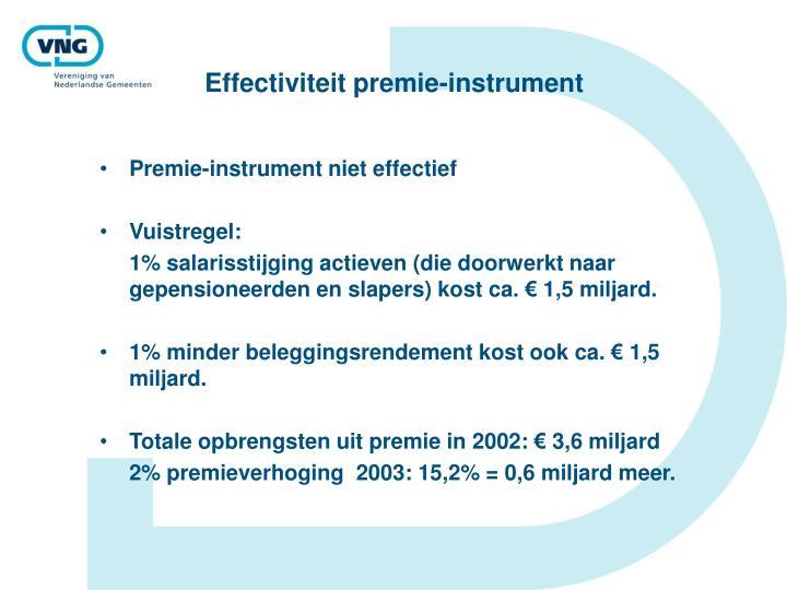 Effectiviteit premie-instrument