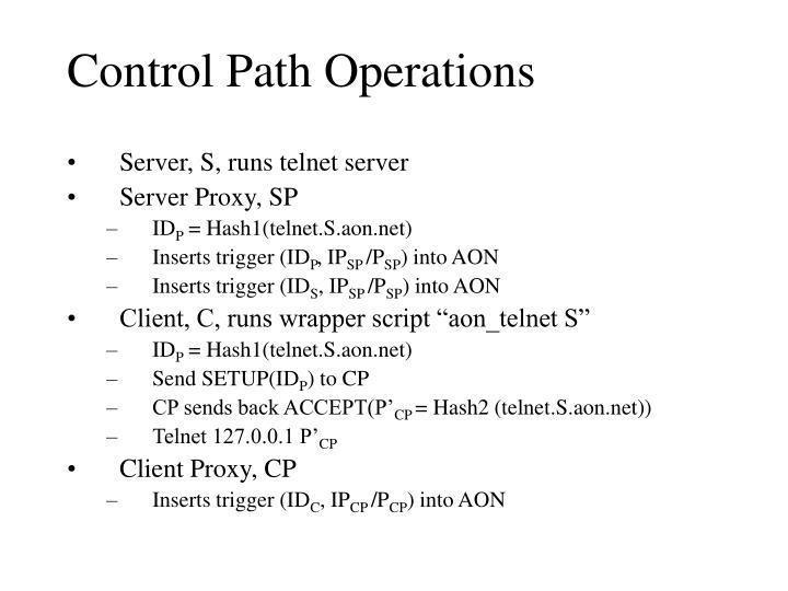 Control Path Operations