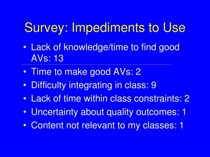 Survey: Impediments to Use