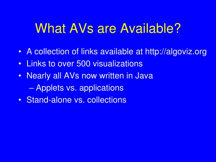 What avs are available