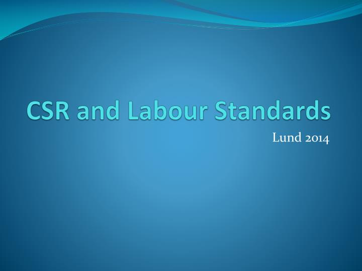 csr and labour standards n.