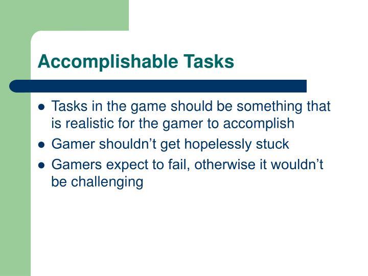 Accomplishable Tasks