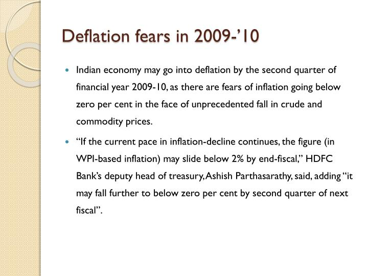 Deflation fears in 2009-'10