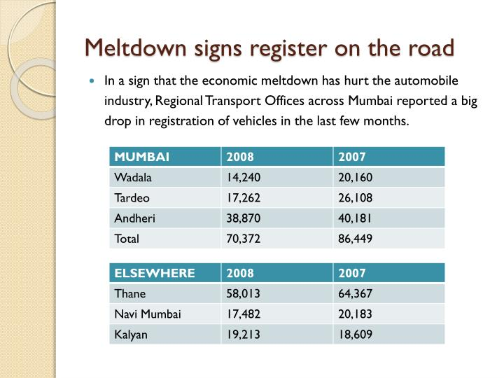 Meltdown signs register on the road