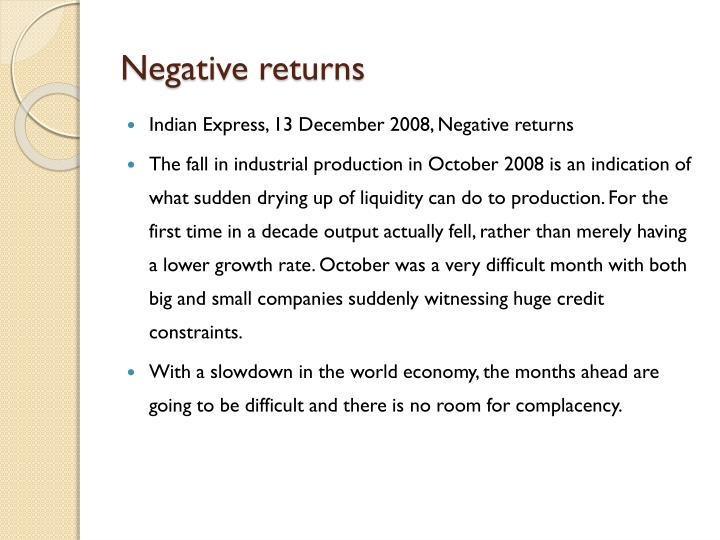 Negative returns
