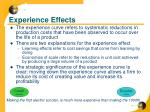 experience effects