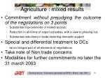 agriculture mixed results