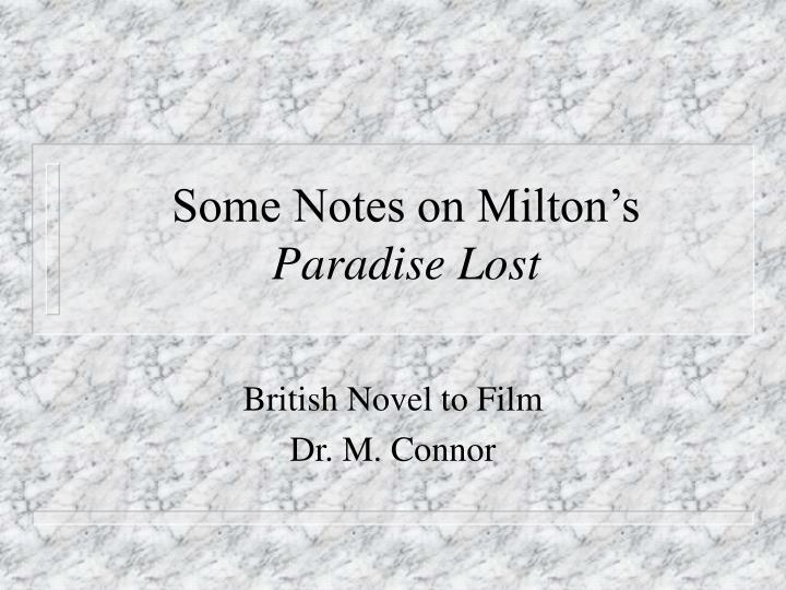 some notes on milton s paradise lost n.