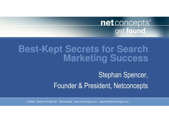 best kept secrets for search marketing success n.