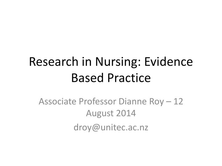 research in nursing evidence based practice n.