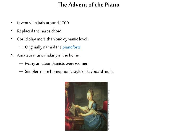 The Advent of the Piano