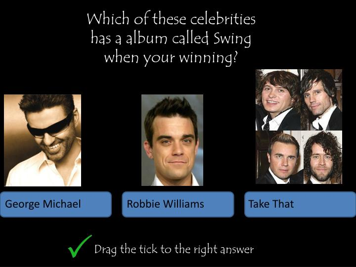 Which of these celebrities has a album called Swing when your winning?