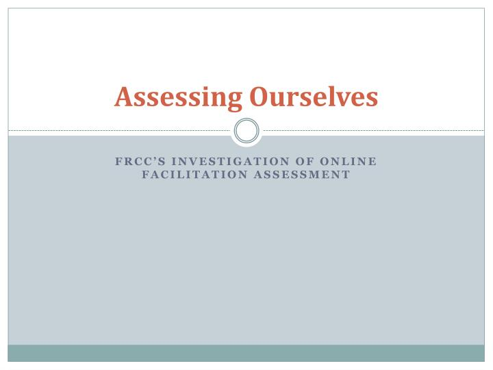 assessing ourselves n.