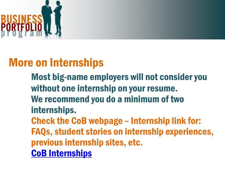 More on Internships