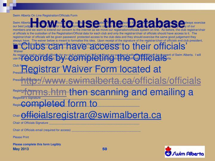 Swim Alberta On Line Registration/Officials Form