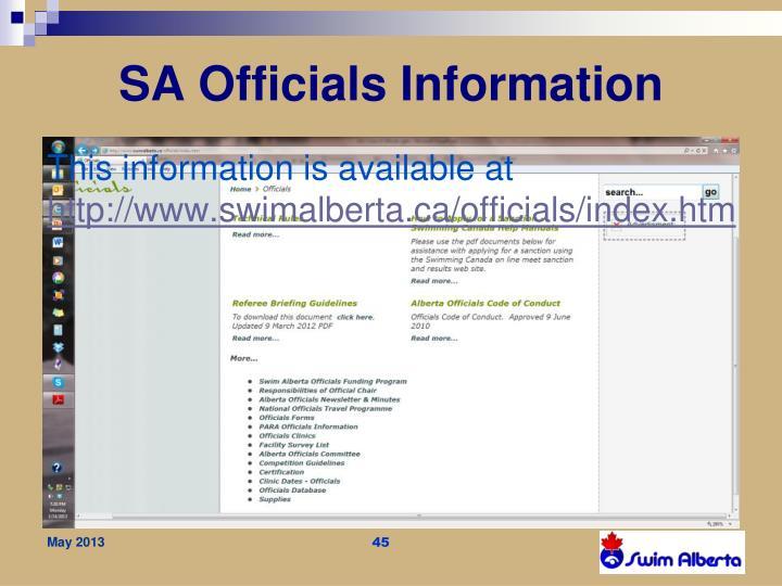 SA Officials Information
