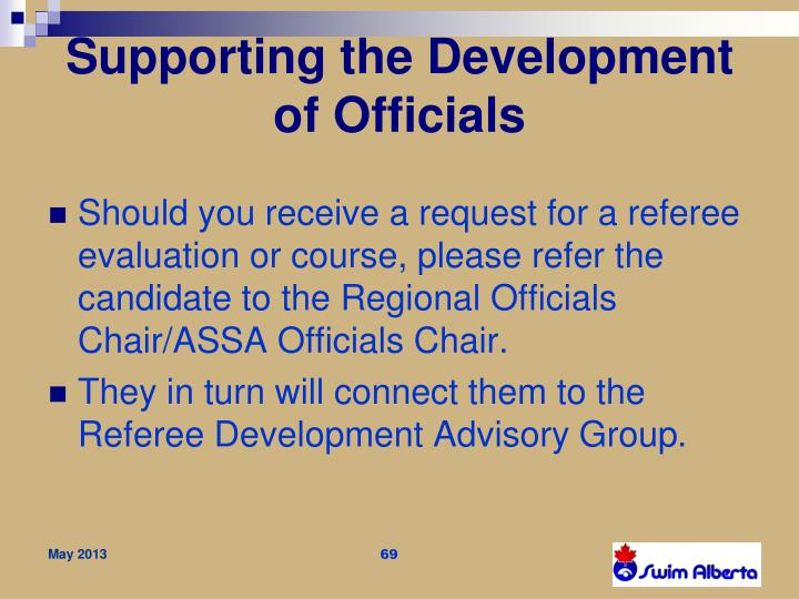 Supporting the Development of Officials