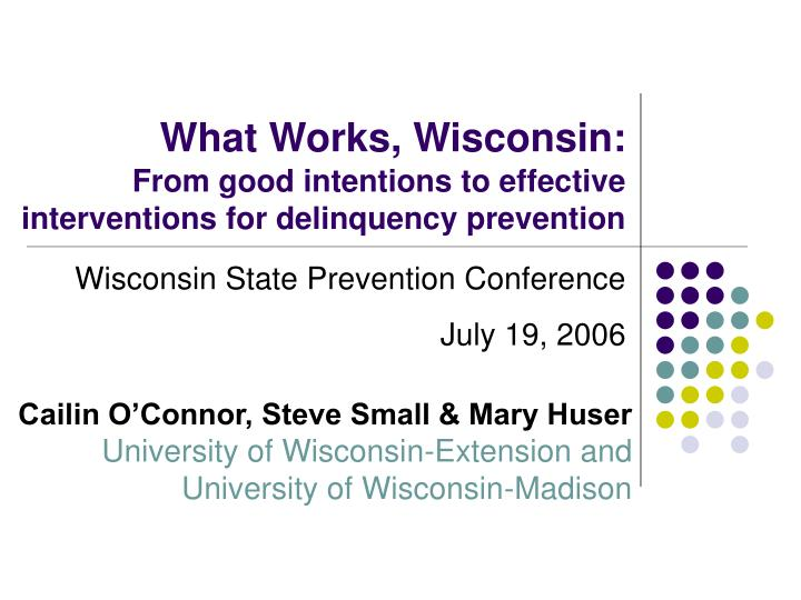 what works wisconsin from good intentions to effective interventions for delinquency prevention n.