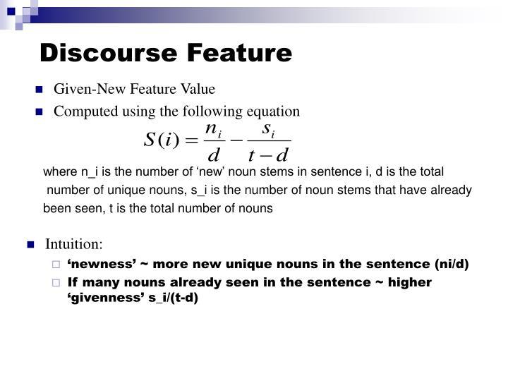 Discourse Feature
