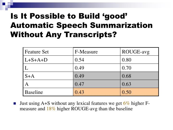 Is It Possible to Build 'good' Automatic Speech Summarization Without Any Transcripts?