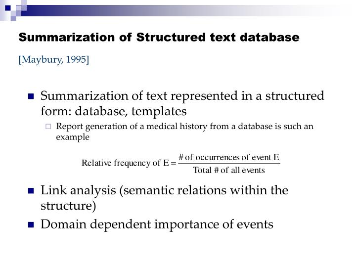 Summarization of Structured text database