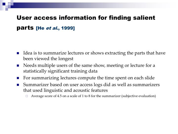 User access information for finding salient parts