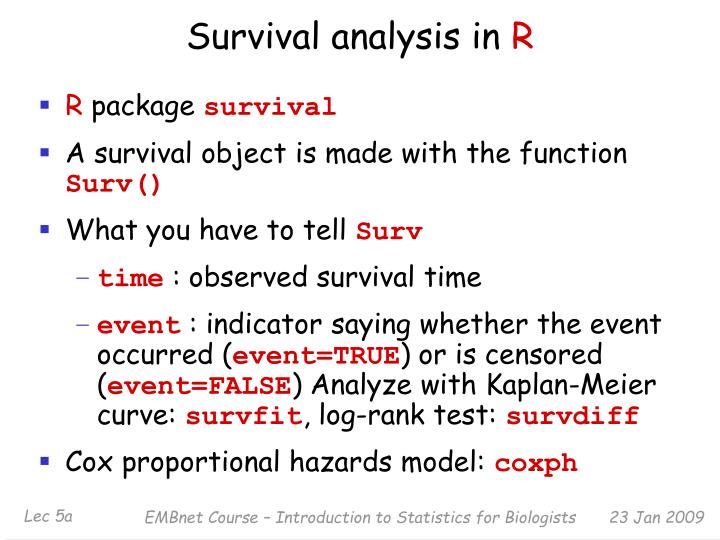 Survival analysis in