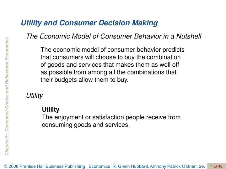 utility and consumer decision making n.