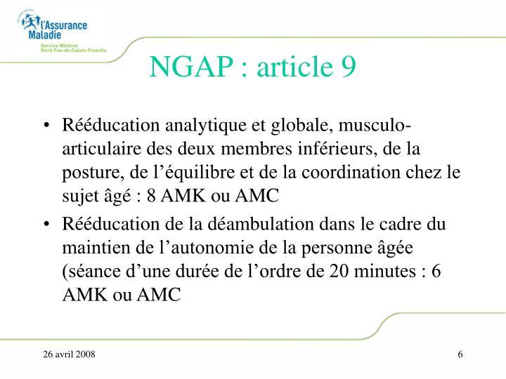 NGAP : article 9