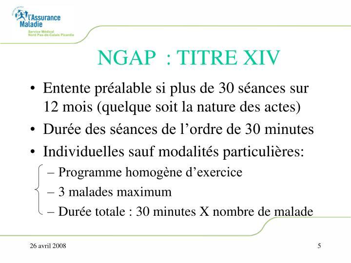 NGAP  : TITRE XIV