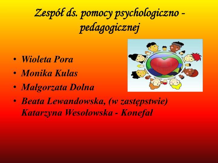 Zesp ds pomocy psychologiczno pedagogicznej