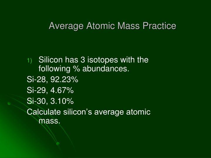 Average Atomic Mass Practice