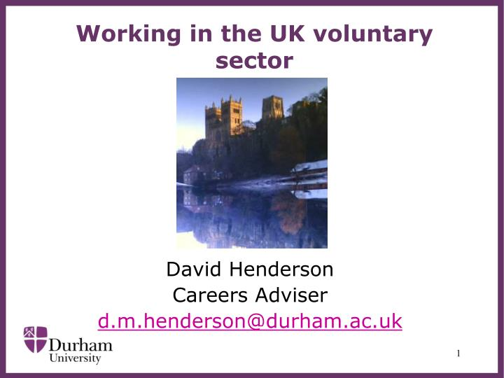 working in the uk voluntary sector n.