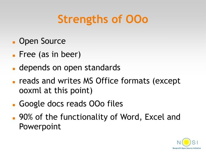Strengths of OOo