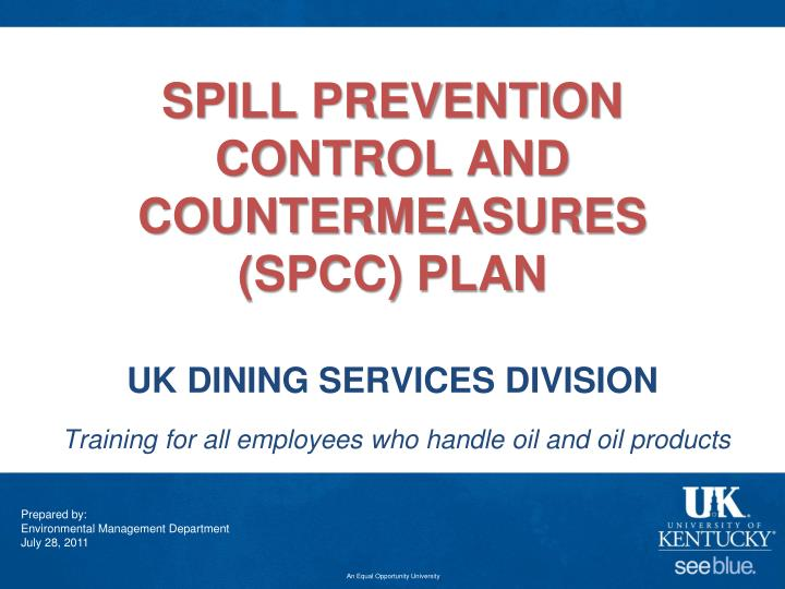 spill prevention control and countermeasures spcc plan uk dining services division n.