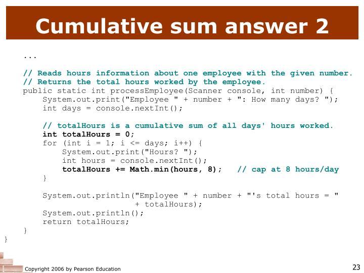 Cumulative sum answer 2