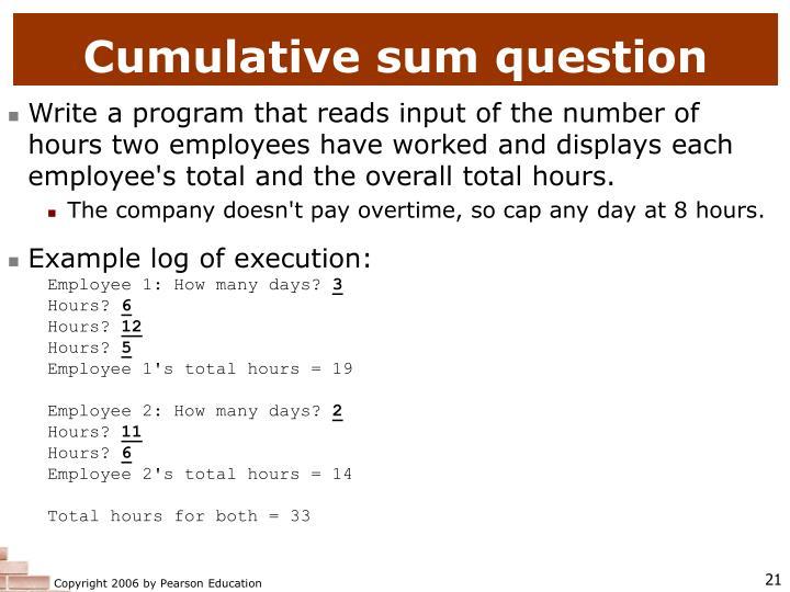 Cumulative sum question