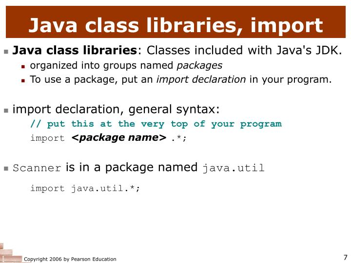 Java class libraries, import