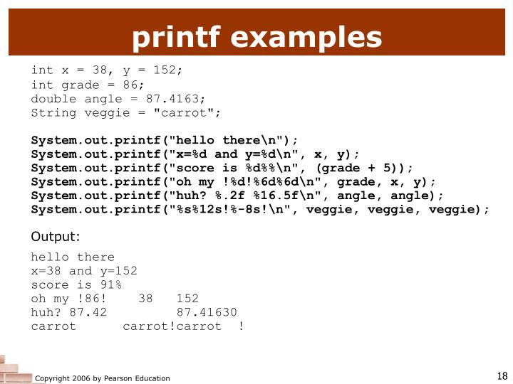 printf examples