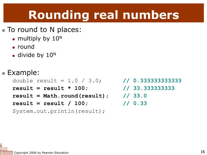 Rounding real numbers