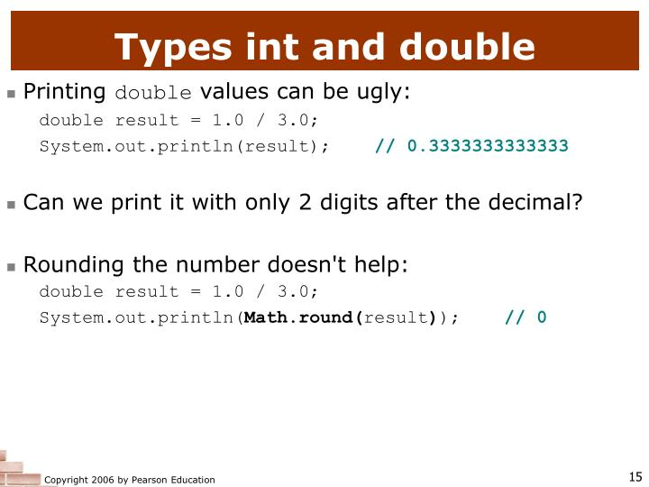 Types int and double