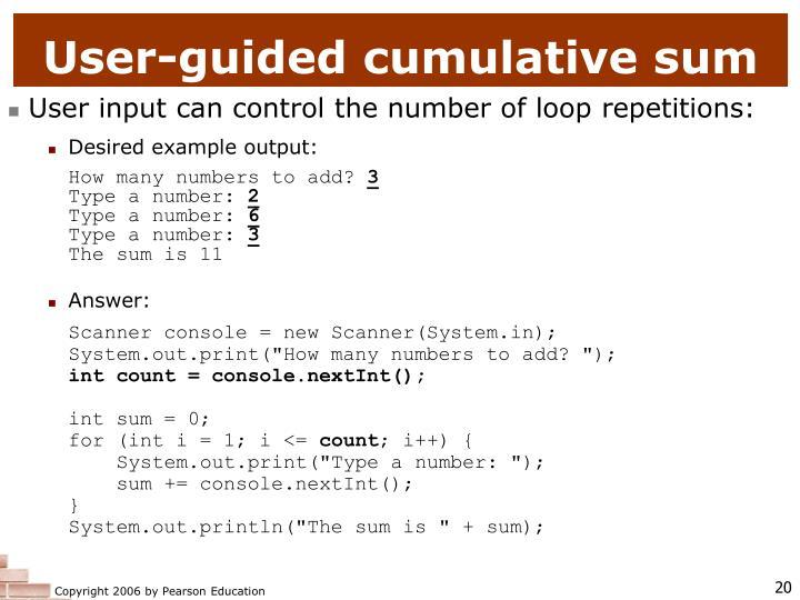 User-guided cumulative sum