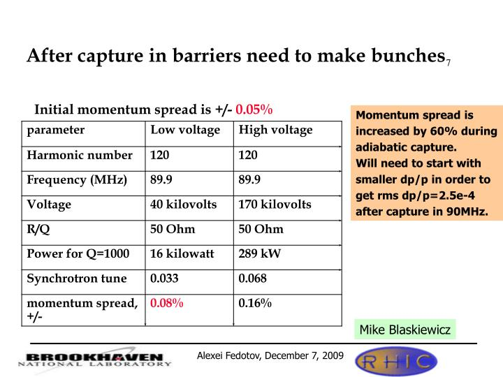 After capture in barriers need to make bunches