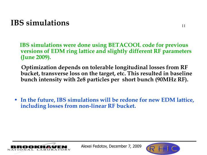 IBS simulations