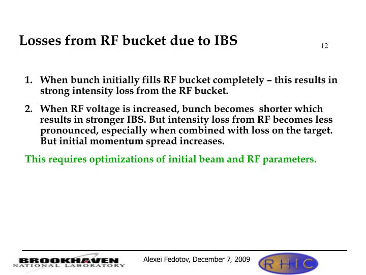 Losses from RF bucket due to IBS